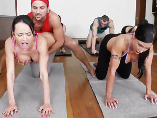 Obscene yoga bombshells getting humped adjacent to a 4some