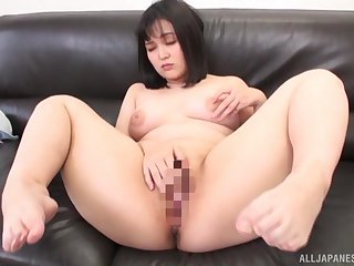 Japanese whore provides excellent solo masturbation