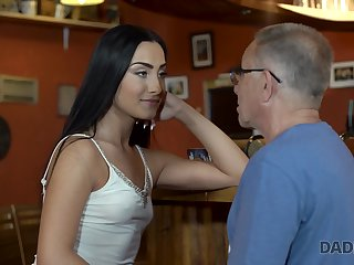 Horny aged fart fucks a hot gloomy haired babe at along to pub