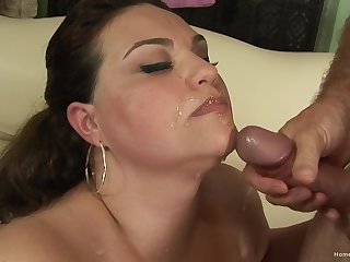 Beamy ass MILF jizzed after a round of coitus with her man
