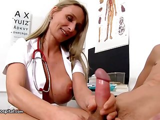 Steamy trouble oneself is wearing fabulous uniform space fully toying on touching will not hear of patient's rock stiff meat stick