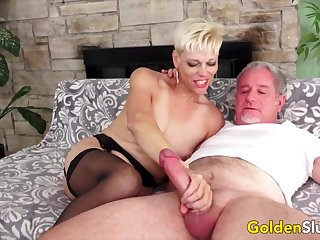 Sexy and horny mature blondes suck thick and stiff cocks so good