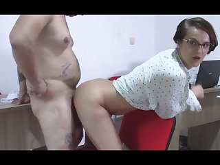 Secretary Find her Brass hats Jerks off Abuse him with her Tight Hoochie-Coochie