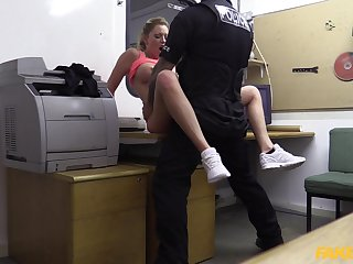 Fake cop forces amateur blonde slut Holly Kiss to suck his dick