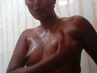 Torrid amateur topless nympho plays with the brush lubed small tits
