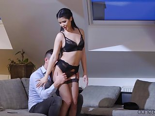 Girlfriend Lady Dee drops a difficulty brush panties to be fucked exposed to a difficulty sofa