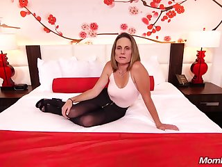Emaciate subfusc milf with saggy tits, Judith, is riding a hard white cock for a camera