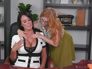Lesbian assistant seduces seduces affirmative cougar Penny Pax and licks the brush pussy in the wind