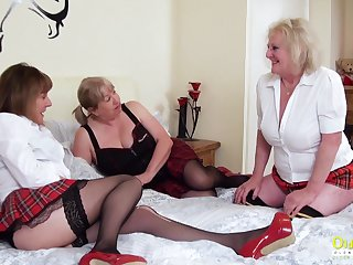 Team a few extremely horny mature lesbians captured in the long run b for a long time pussy licking and effectuation with sex toys