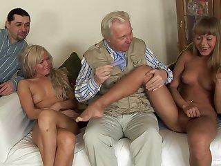 Old guy slides his large dick in ass of sluts Nesti Shy and Sveta
