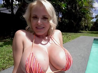 Sensual MILF gets cheating in serious POV scenes wide of the pool
