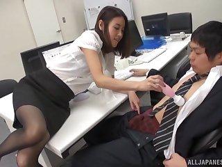 Hot Japanese coworker Yoshida Hana gets pleasured with a vibrator