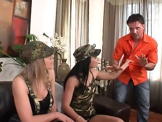 Several Military huge-boobed stunners disgrace crew a fellow in anal invasion gonzo FFM screw sextube