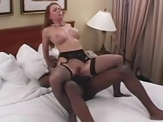 Dazzling lady featuring an amazing interracial porn video