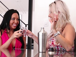 High class lesbian babes Alana Luv with the addition of Rio Lee at a loss for words each other