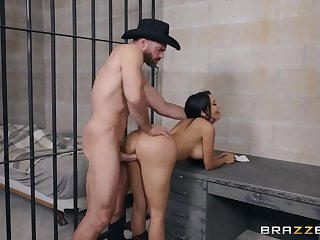 Sheriff and a slutty cowgirl fucking in a jail cell