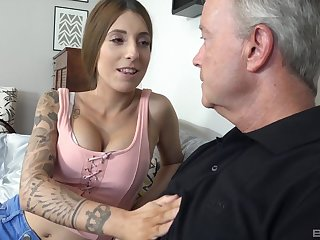 Kinky Kate spreads her legs and lets an old panhandler fuck her